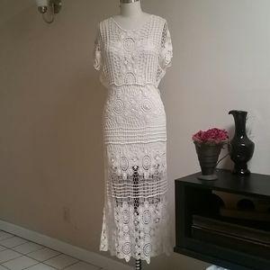 Forever 21 Crochet Maxi Dress Cream
